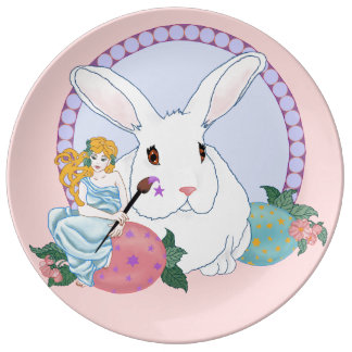 Easter Bunny's Helper porcelain plate