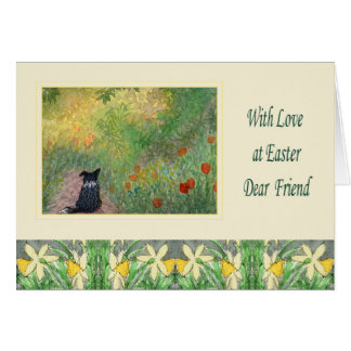 Easter card - Border Collie dog in a meadow
