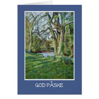 Easter Card, Danish Greeting, Riverbank in Spring Card
