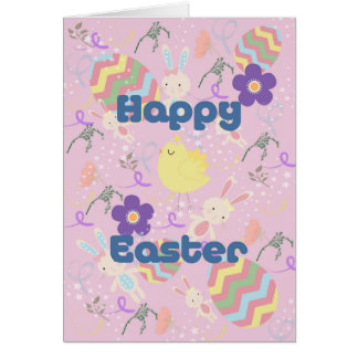 Easter Card for Kids with Bunnies & Swirls