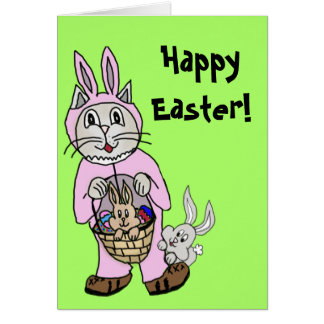 Easter Card with a Cat in bunny suit drawing