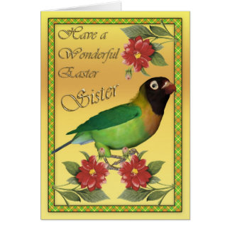 Easter card with Black Cheeked Lovebird sister
