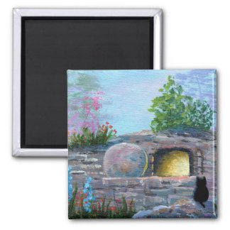 Easter Cat Christian Art Empty Tomb Magnet