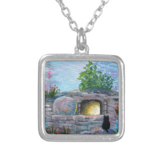 Easter Cat Christian Art Empty Tomb Silver Plated Necklace
