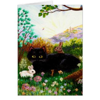 Easter Cat Christian Art Painting Creationarts LRA Card