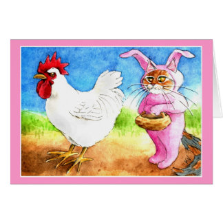 Easter cat in bunny suit and rooster card