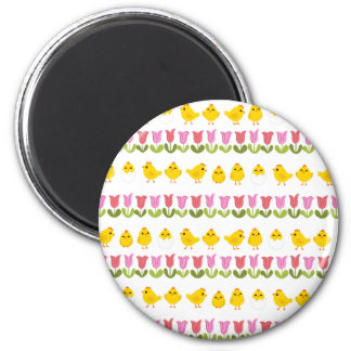 Easter - chick and tulips 2 inch round magnet