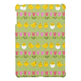 Easter - chick and tulips iPad mini cases