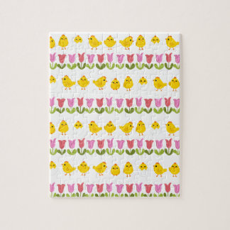 Easter - chick and tulips jigsaw puzzle