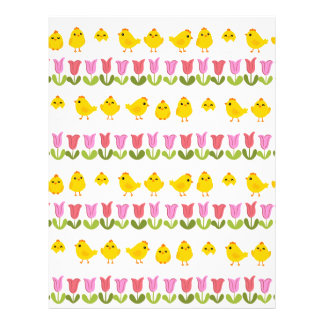 Easter - chick and tulips letterhead design