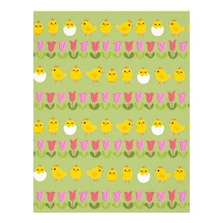 Easter - chick and tulips letterhead template