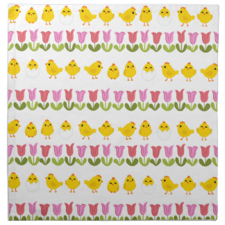 Easter - chick and tulips napkin
