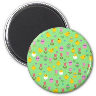 Easter - chick and tulips pattern 2 inch round magnet
