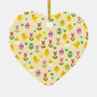 Easter - chick and tulips pattern ceramic ornament