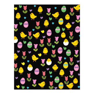 Easter - chick and tulips pattern customized letterhead