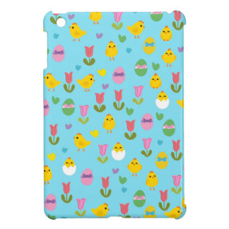 Easter - chick and tulips pattern iPad mini cases