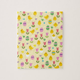 Easter - chick and tulips pattern jigsaw puzzle
