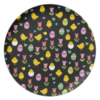 Easter - chick and tulips pattern plate