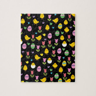 Easter - chick and tulips pattern puzzle