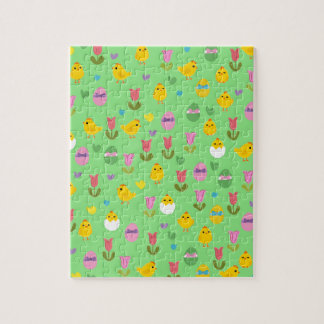 Easter - chick and tulips pattern puzzles