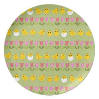 Easter - chick and tulips plate