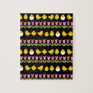 Easter - chick and tulips puzzle