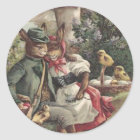 Easter Chick Bunny Couple Coloured Egg Mushroom Classic Round Sticker