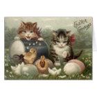 Easter Chick Coloured Egg Kitten Cat Card