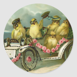 Easter Chick Driving Car Pink Rose Classic Round Sticker