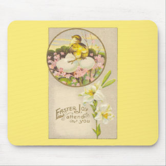 Easter - Chick & Eggs Up a Tree - Antique Postcard Mouse Pad