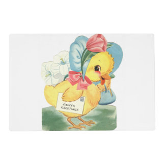 Easter Chick Greetings Laminated Placemat