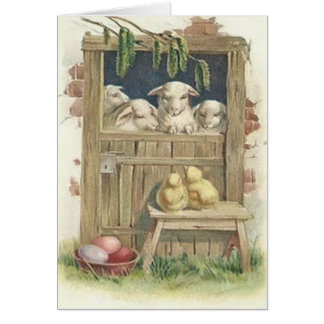 Easter Chick Lamb Barn Colored Painted Egg Greeting Cards