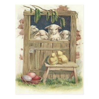 Easter Chick Lamb Barn Colored Painted Egg Postcard