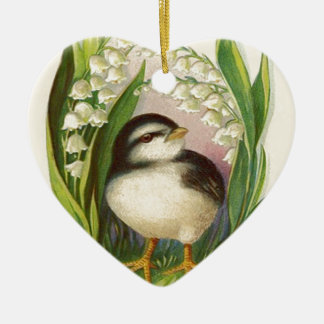 Easter Chick Lily Of The Valley Ceramic Heart Ornament