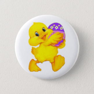 Easter Chick With Egg 2 Inch Round Button