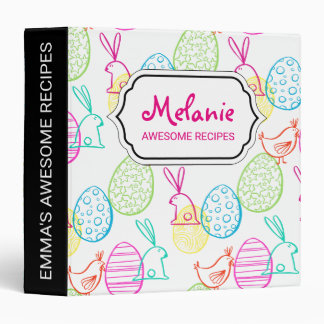 Easter chicken bunny sketchy illustration pattern 3 ring binder