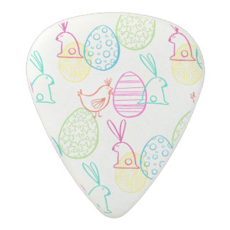 Easter chicken bunny sketchy illustration pattern acetal guitar pick