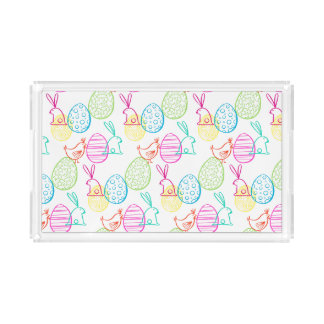 Easter chicken bunny sketchy illustration pattern acrylic tray