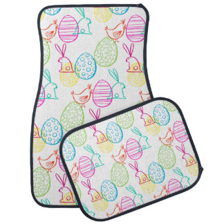 Easter chicken bunny sketchy illustration pattern car mat