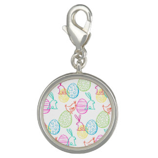 Easter chicken bunny sketchy illustration pattern charm