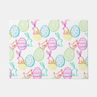 Easter chicken bunny sketchy illustration pattern doormat