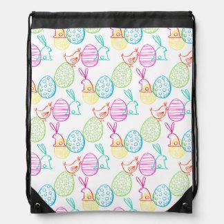 Easter chicken bunny sketchy illustration pattern drawstring bag