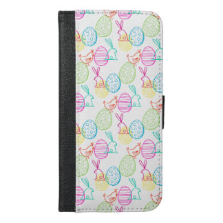 Easter chicken bunny sketchy illustration pattern iPhone 6/6s plus wallet case