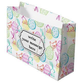 Easter chicken bunny sketchy illustration pattern large gift bag