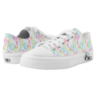 Easter chicken bunny sketchy illustration pattern Low-Top sneakers