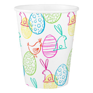 Easter chicken bunny sketchy illustration pattern paper cup