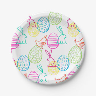 Easter chicken bunny sketchy illustration pattern paper plate