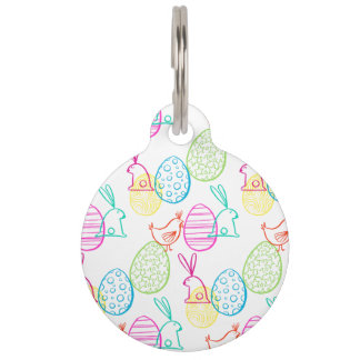 Easter chicken bunny sketchy illustration pattern pet tag