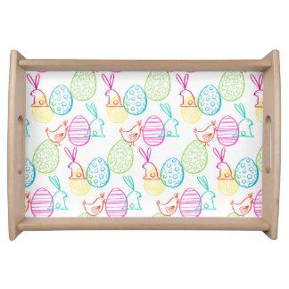 Easter chicken bunny sketchy illustration pattern serving tray