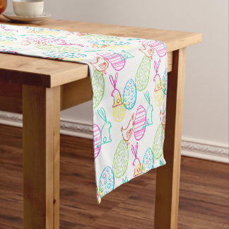 Easter chicken bunny sketchy illustration pattern short table runner